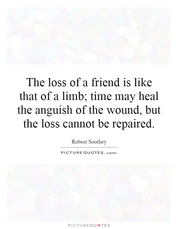The loss of a friend is like that of a limb; time may heal the anguish of the wound, but the loss cannot be repaired Picture Quote #1