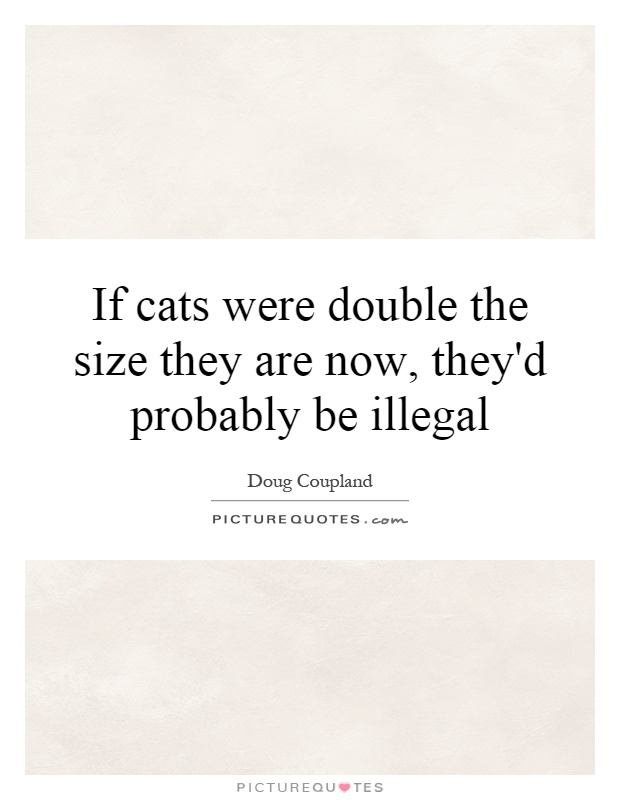 If cats were double the size they are now, they'd probably be illegal Picture Quote #1