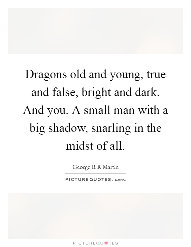 Dragons old and young, true and false, bright and dark. And you. A small man with a big shadow, snarling in the midst of all Picture Quote #1
