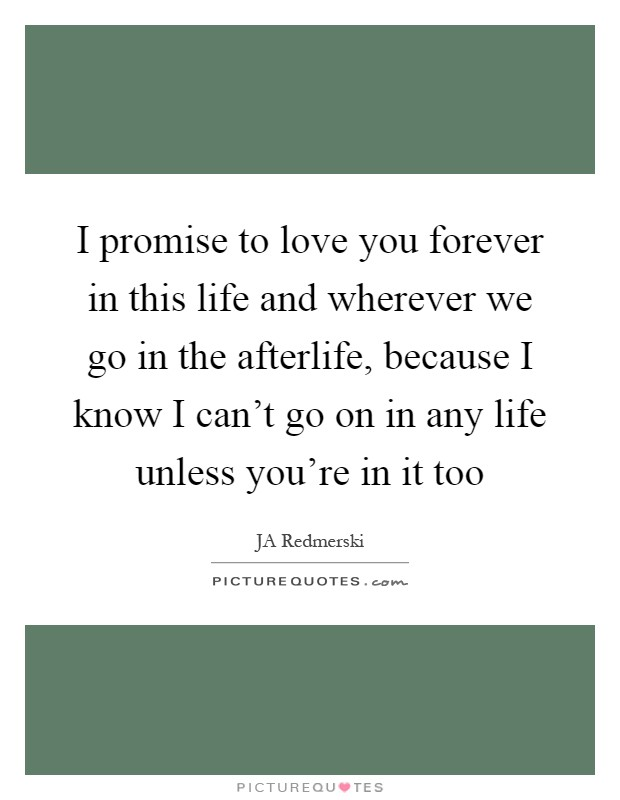I promise to love you forever in this life and wherever we go in the afterlife, because I know I can't go on in any life unless you're in it too Picture Quote #1
