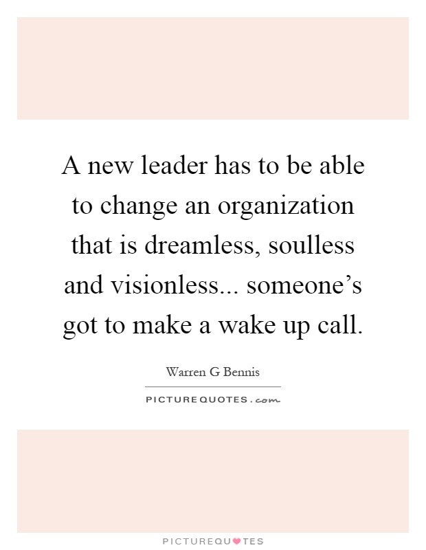 A new leader has to be able to change an organization that is dreamless, soulless and visionless... someone's got to make a wake up call Picture Quote #1