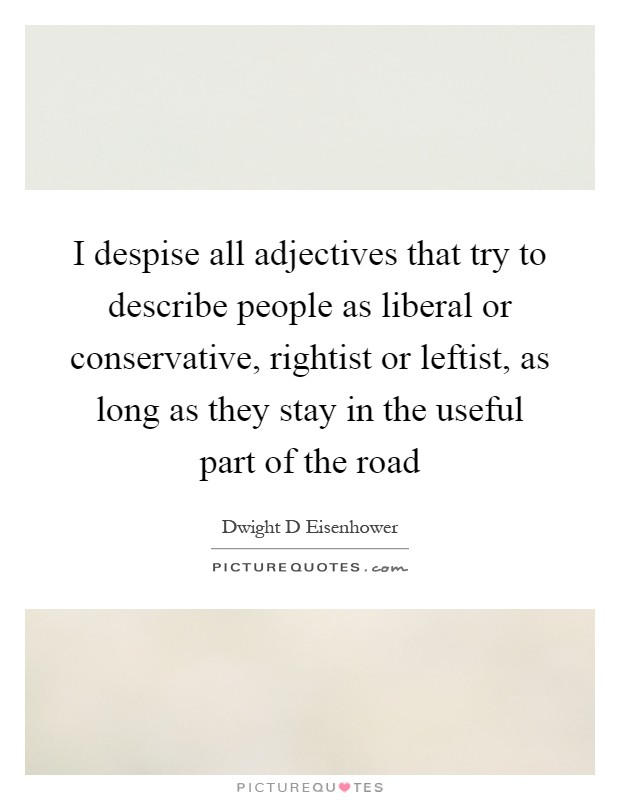 I despise all adjectives that try to describe people as liberal or conservative, rightist or leftist, as long as they stay in the useful part of the road Picture Quote #1