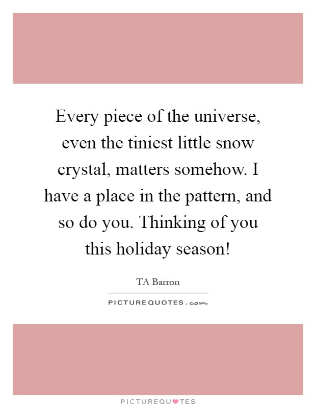Every piece of the universe, even the tiniest little snow crystal, matters somehow. I have a place in the pattern, and so do you. Thinking of you this holiday season! Picture Quote #1