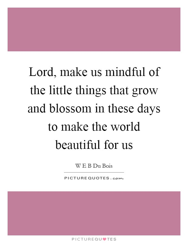 Lord, make us mindful of the little things that grow and blossom in these days to make the world beautiful for us Picture Quote #1