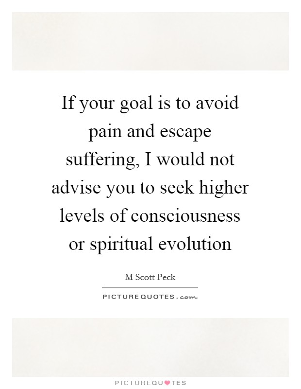 If your goal is to avoid pain and escape suffering, I would not advise you to seek higher levels of consciousness or spiritual evolution Picture Quote #1