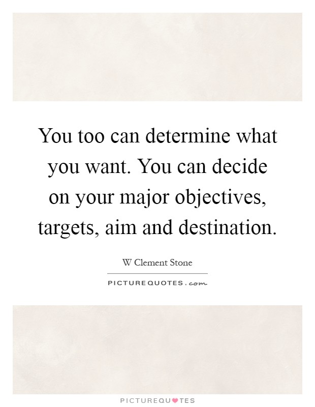 you can decide on your major objectives targets aim and destination