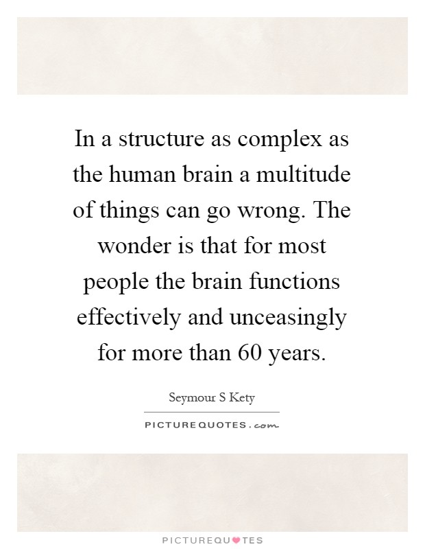 In a structure as complex as the human brain a multitude of things can go wrong. The wonder is that for most people the brain functions effectively and unceasingly for more than 60 years Picture Quote #1