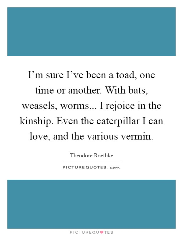 I'm sure I've been a toad, one time or another. With bats, weasels, worms... I rejoice in the kinship. Even the caterpillar I can love, and the various vermin Picture Quote #1