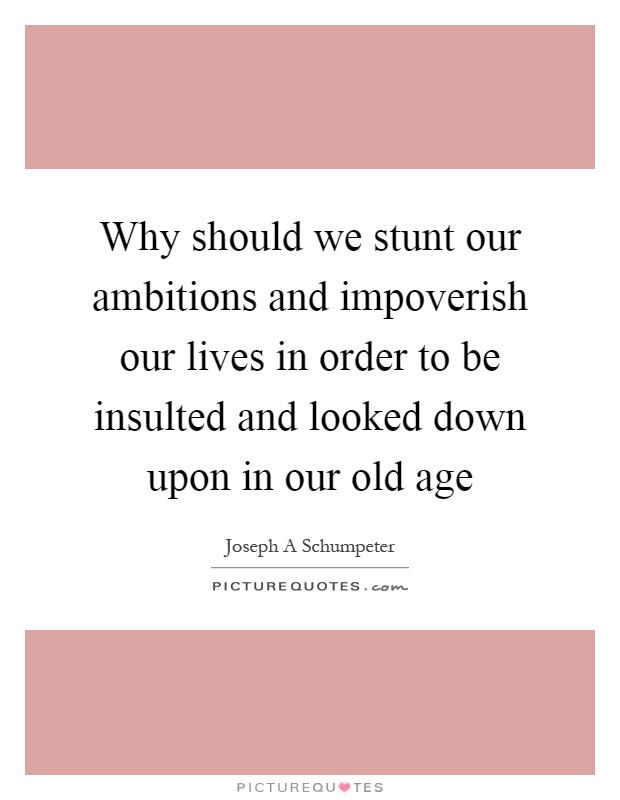 Why should we stunt our ambitions and impoverish our lives in order to be insulted and looked down upon in our old age Picture Quote #1