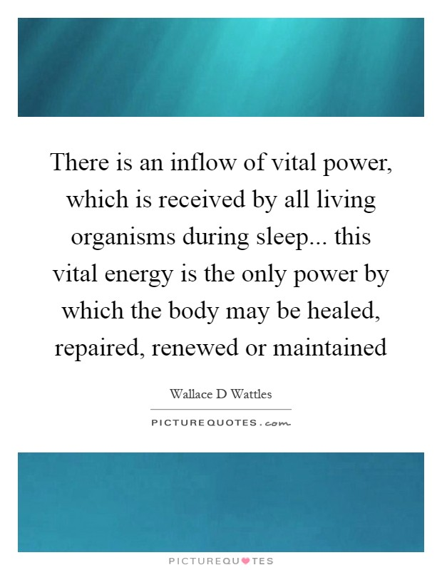 There is an inflow of vital power, which is received by all living organisms during sleep... this vital energy is the only power by which the body may be healed, repaired, renewed or maintained Picture Quote #1