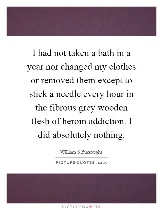 I had not taken a bath in a year nor changed my clothes or removed them except to stick a needle every hour in the fibrous grey wooden flesh of heroin addiction. I did absolutely nothing Picture Quote #1