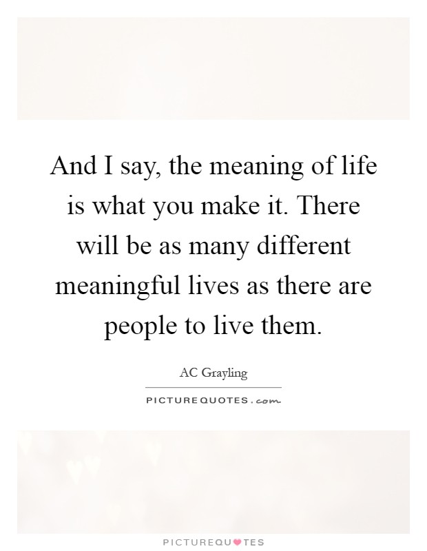 And I say, the meaning of life is what you make it. There will be as many different meaningful lives as there are people to live them Picture Quote #1