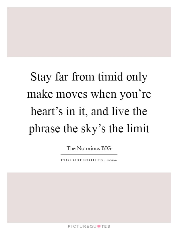 Stay far from timid only make moves when you're heart's in it, and live the phrase the sky's the limit Picture Quote #1