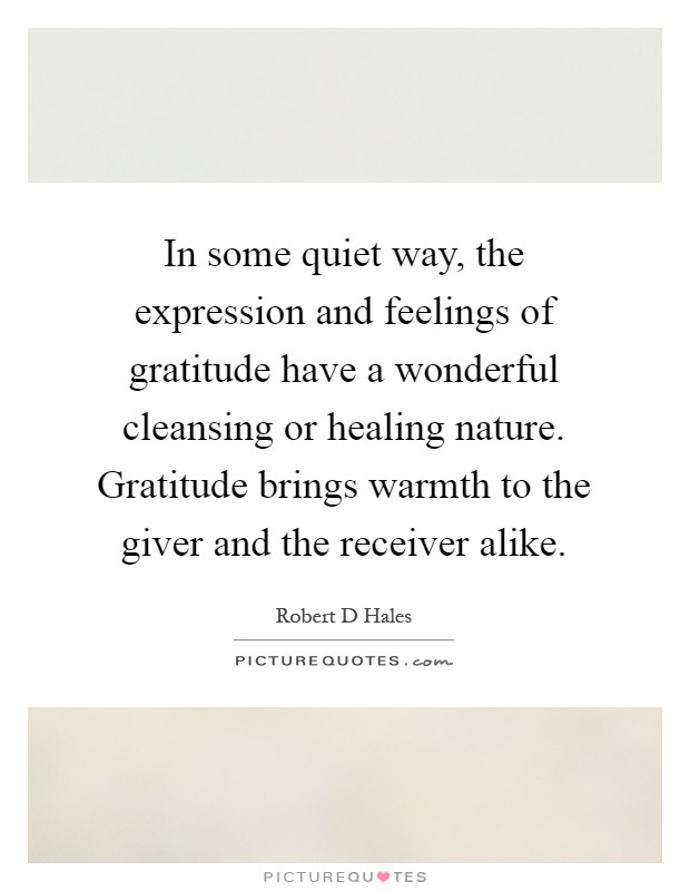 In some quiet way, the expression and feelings of gratitude have a wonderful cleansing or healing nature. Gratitude brings warmth to the giver and the receiver alike Picture Quote #1