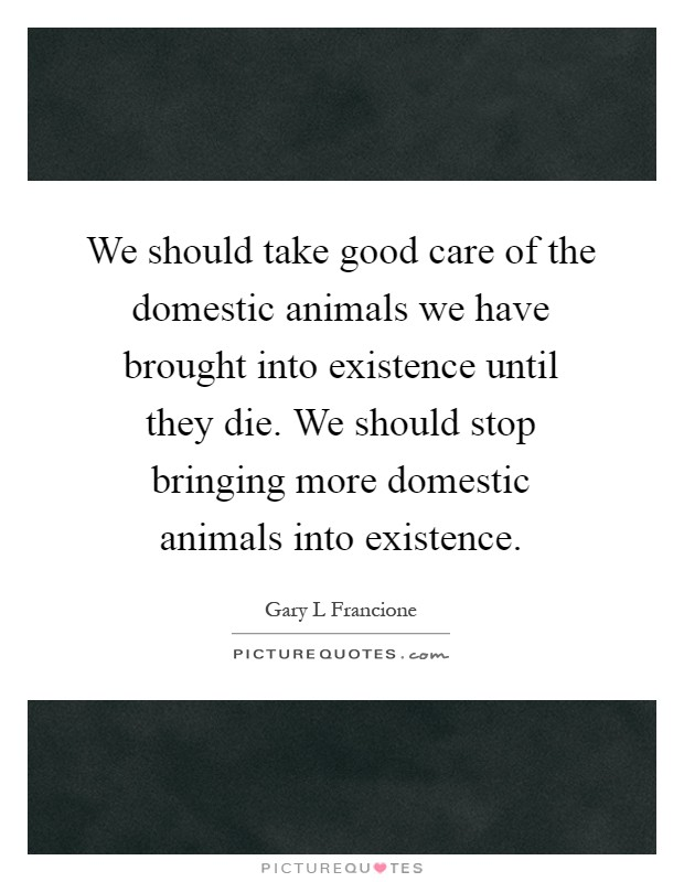 We should take good care of the domestic animals we have brought into existence until they die. We should stop bringing more domestic animals into existence Picture Quote #1