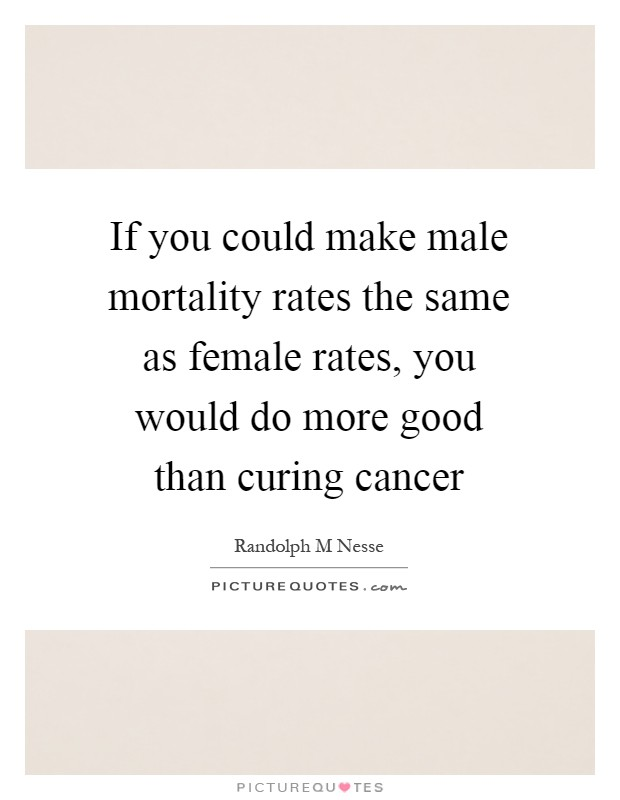 If you could make male mortality rates the same as female rates, you would do more good than curing cancer Picture Quote #1