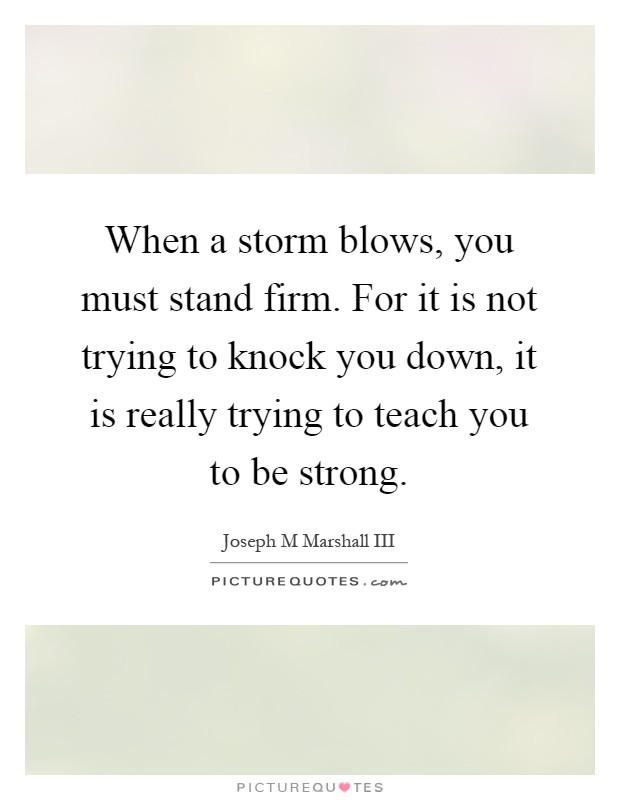 When a storm blows, you must stand firm. For it is not trying to knock you down, it is really trying to teach you to be strong Picture Quote #1