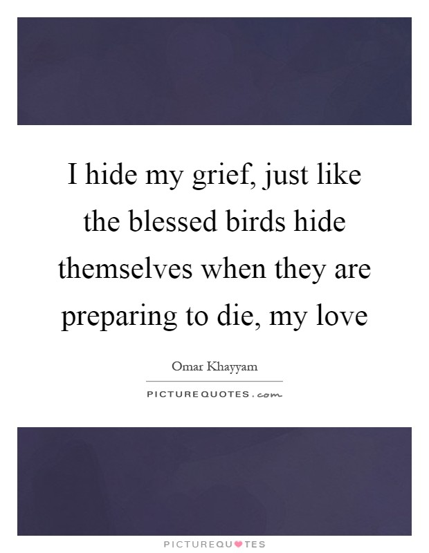 I hide my grief, just like the blessed birds hide themselves when they are preparing to die, my love Picture Quote #1