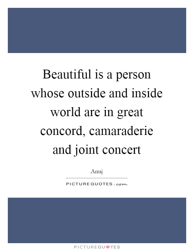 Beautiful is a person whose outside and inside world are in great concord, camaraderie and joint concert Picture Quote #1