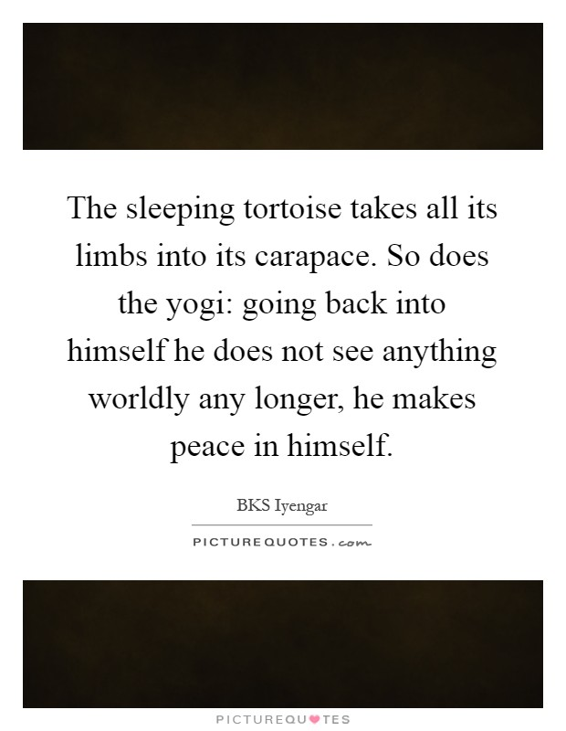 The sleeping tortoise takes all its limbs into its carapace. So does the yogi: going back into himself he does not see anything worldly any longer, he makes peace in himself Picture Quote #1