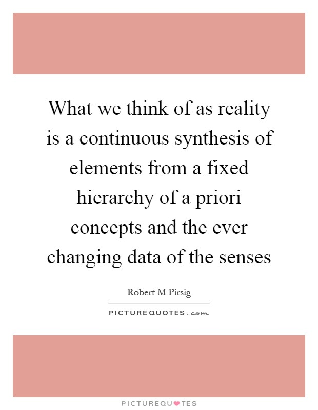 What we think of as reality is a continuous synthesis of elements from a fixed hierarchy of a priori concepts and the ever changing data of the senses Picture Quote #1