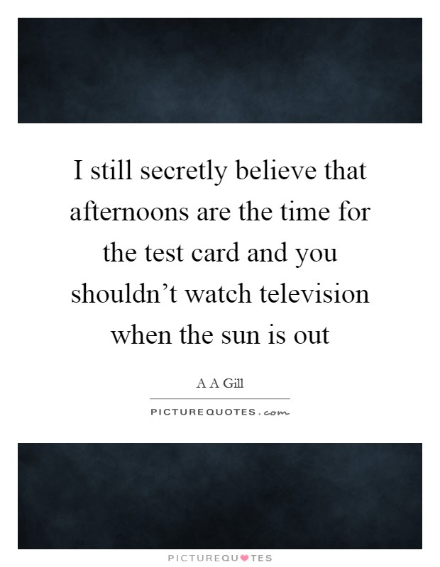 I still secretly believe that afternoons are the time for the test card and you shouldn't watch television when the sun is out Picture Quote #1
