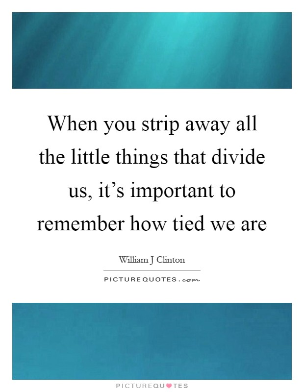 When you strip away all the little things that divide us, it's important to remember how tied we are Picture Quote #1