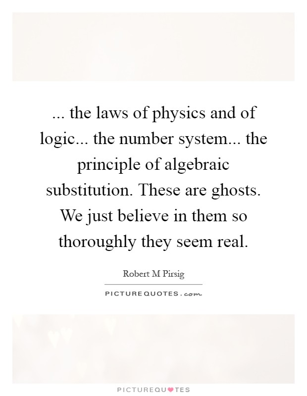 ... the laws of physics and of logic... the number system... the principle of algebraic substitution. These are ghosts. We just believe in them so thoroughly they seem real Picture Quote #1