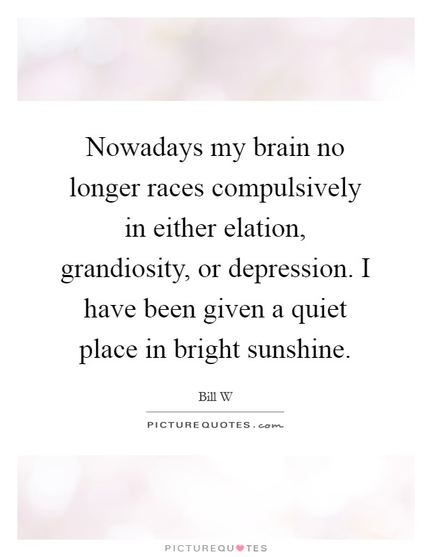 Nowadays my brain no longer races compulsively in either elation, grandiosity, or depression. I have been given a quiet place in bright sunshine Picture Quote #1