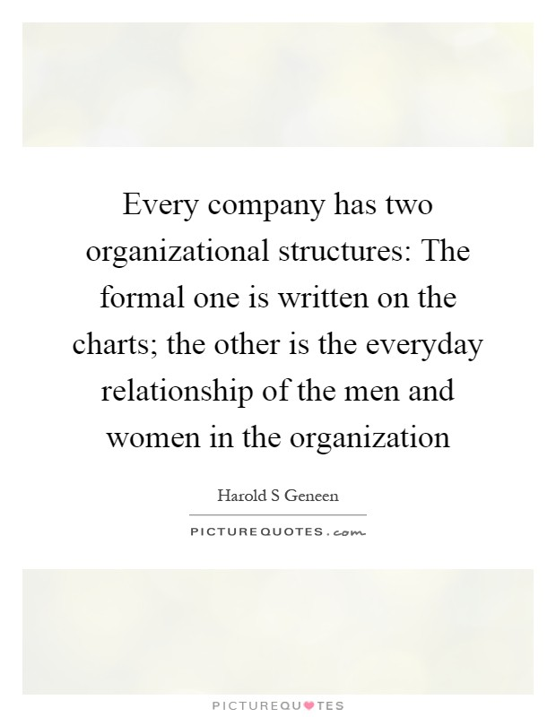 Every company has two organizational structures: The formal one is written on the charts; the other is the everyday relationship of the men and women in the organization Picture Quote #1