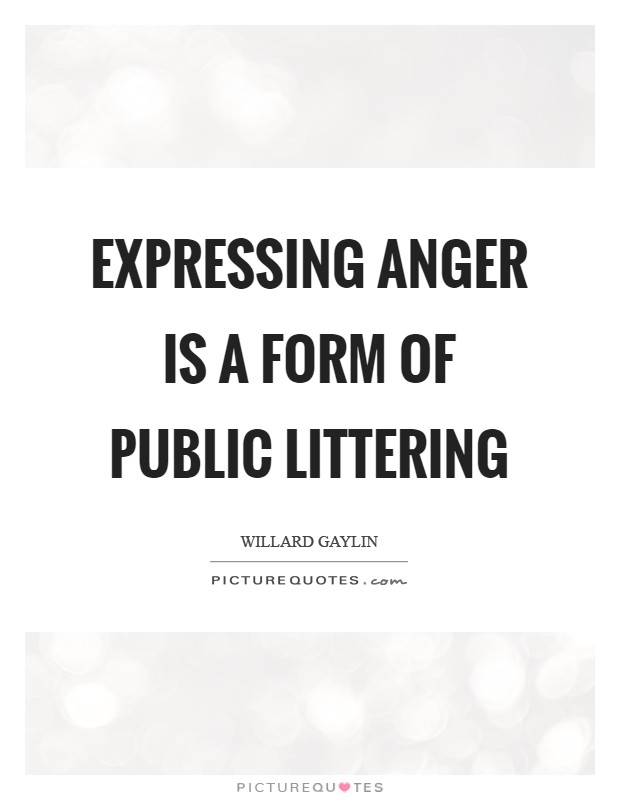 Expressing anger is a form of public littering Picture Quote #1