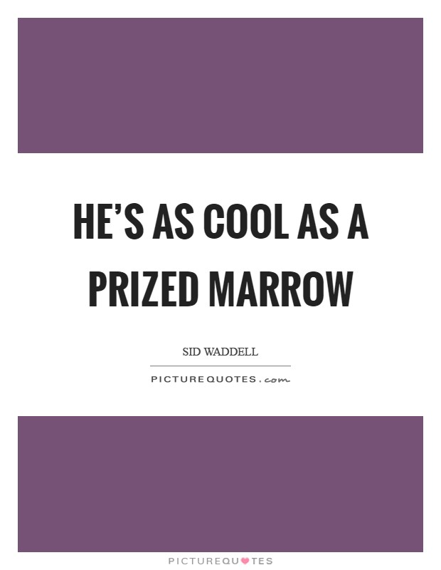 He's as cool as a prized marrow Picture Quote #1