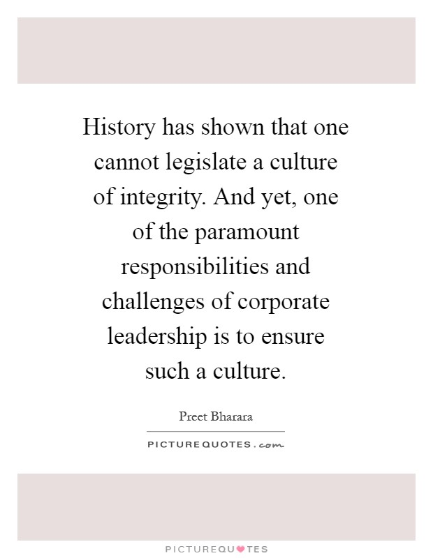 Obligations of integrity