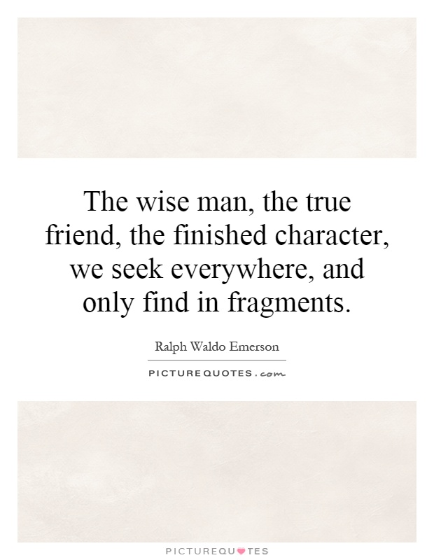 The wise man, the true friend, the finished character, we seek everywhere, and only find in fragments Picture Quote #1
