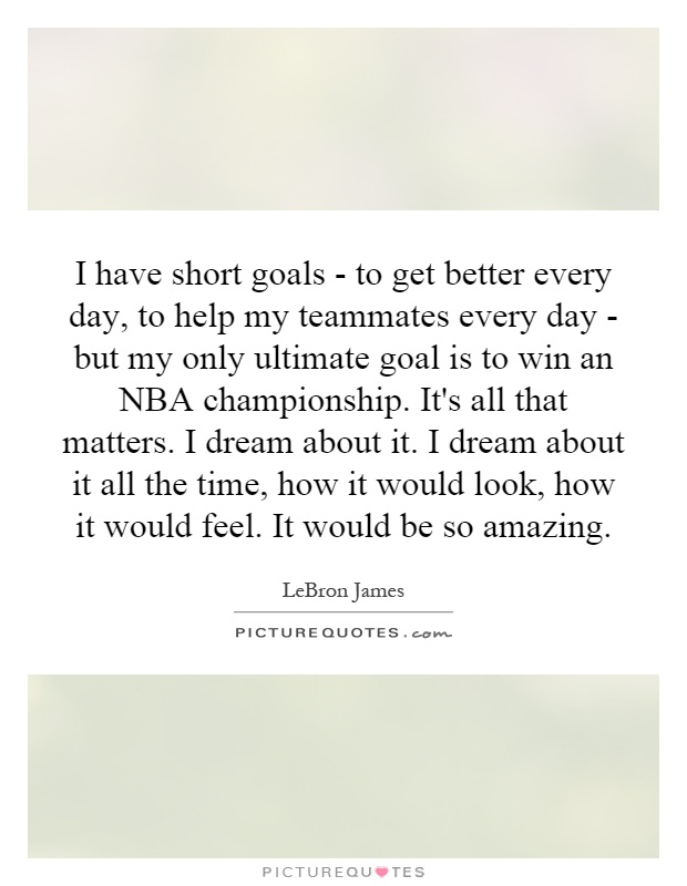 I have short goals - to get better every day, to help my teammates every day - but my only ultimate goal is to win an NBA championship. It's all that matters. I dream about it. I dream about it all the time, how it would look, how it would feel. It would be so amazing Picture Quote #1