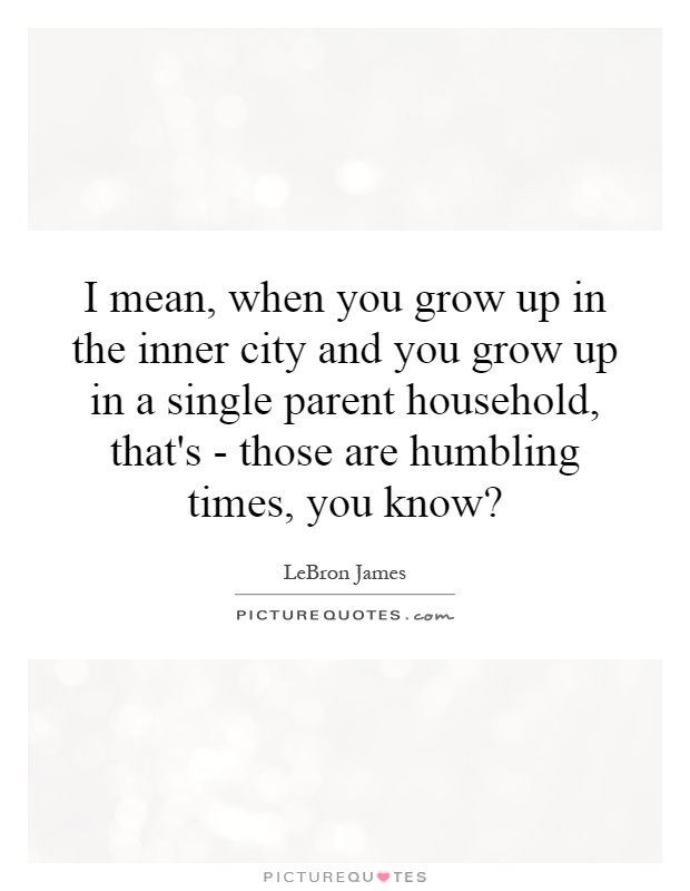 I mean, when you grow up in the inner city and you grow up in a single parent household, that's - those are humbling times, you know? Picture Quote #1