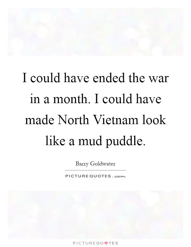 I could have ended the war in a month. I could have made North Vietnam look like a mud puddle Picture Quote #1