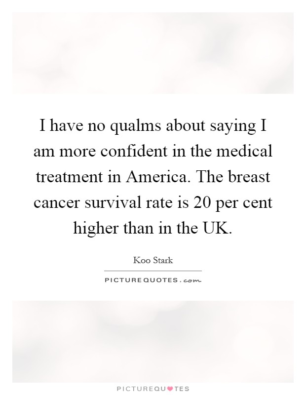 I have no qualms about saying I am more confident in the medical treatment in America. The breast cancer survival rate is 20 per cent higher than in the UK Picture Quote #1