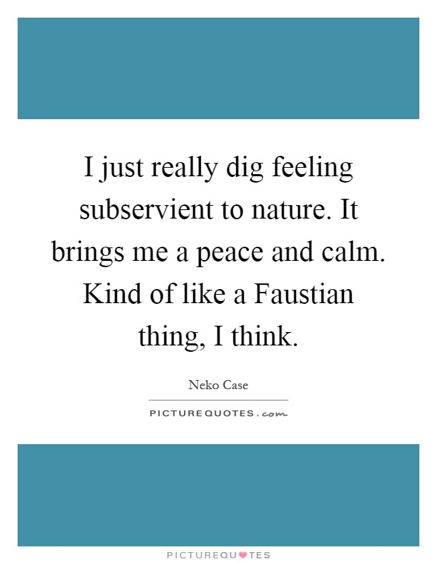 I just really dig feeling subservient to nature. It brings me a peace and calm. Kind of like a Faustian thing, I think Picture Quote #1