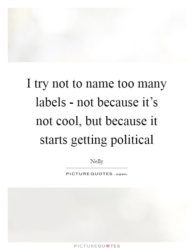 I try not to name too many labels - not because it's not cool, but because it starts getting political Picture Quote #1