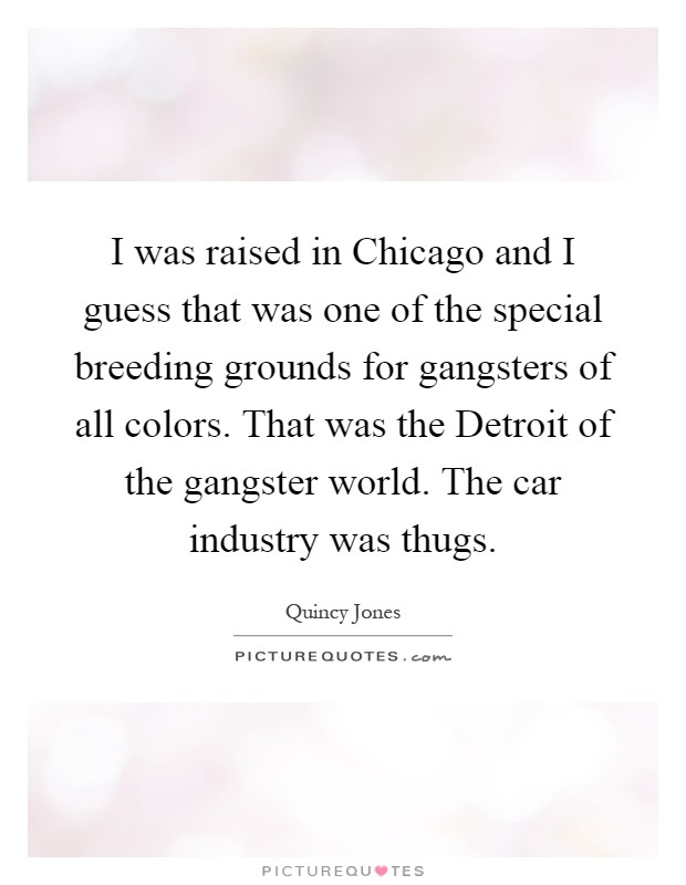 I was raised in Chicago and I guess that was one of the special breeding grounds for gangsters of all colors. That was the Detroit of the gangster world. The car industry was thugs Picture Quote #1