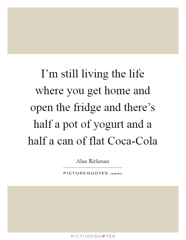 I'm still living the life where you get home and open the fridge and there's half a pot of yogurt and a half a can of flat Coca-Cola Picture Quote #1