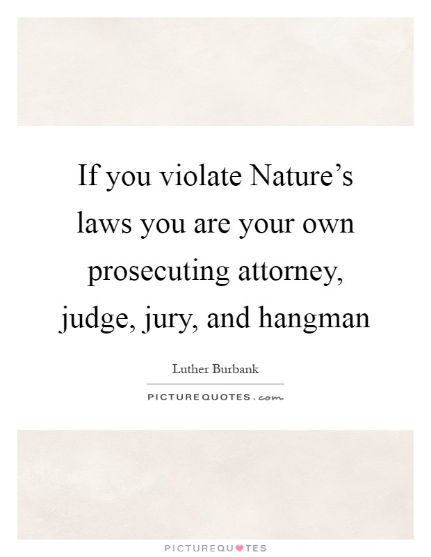 If you violate Nature's laws you are your own prosecuting attorney, judge, jury, and hangman Picture Quote #1