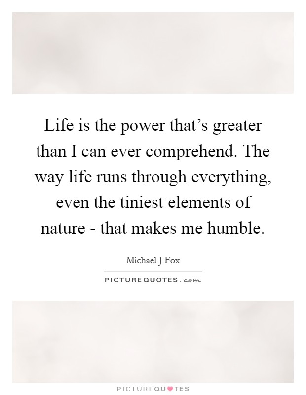 Life is the power that's greater than I can ever comprehend. The way life runs through everything, even the tiniest elements of nature - that makes me humble Picture Quote #1