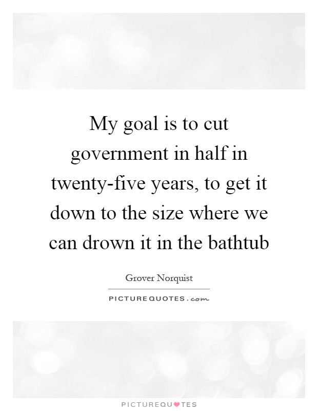 My goal is to cut government in half in twenty-five years, to get it down to the size where we can drown it in the bathtub Picture Quote #1