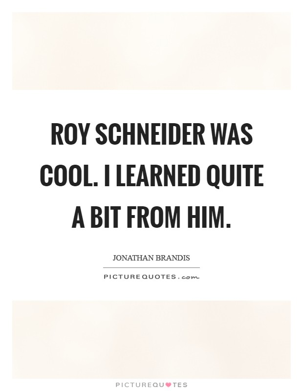 Roy Schneider was cool. I learned quite a bit from him Picture Quote #1