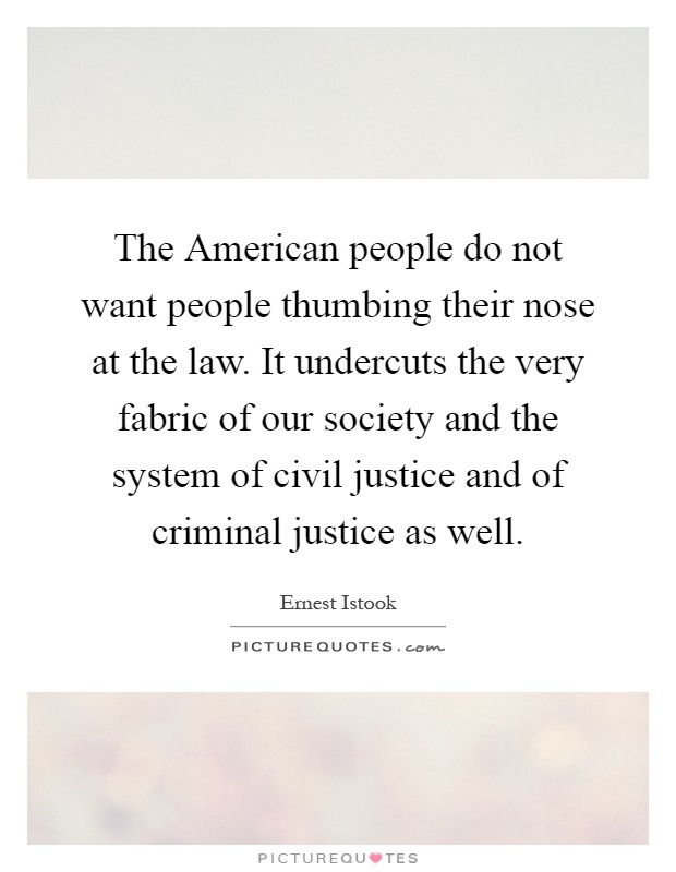 The American people do not want people thumbing their nose at the law. It undercuts the very fabric of our society and the system of civil justice and of criminal justice as well Picture Quote #1