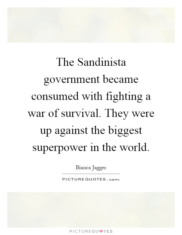 The Sandinista government became consumed with fighting a war of survival. They were up against the biggest superpower in the world Picture Quote #1