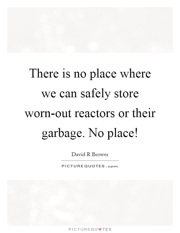 There is no place where we can safely store worn-out reactors or their garbage. No place! Picture Quote #1