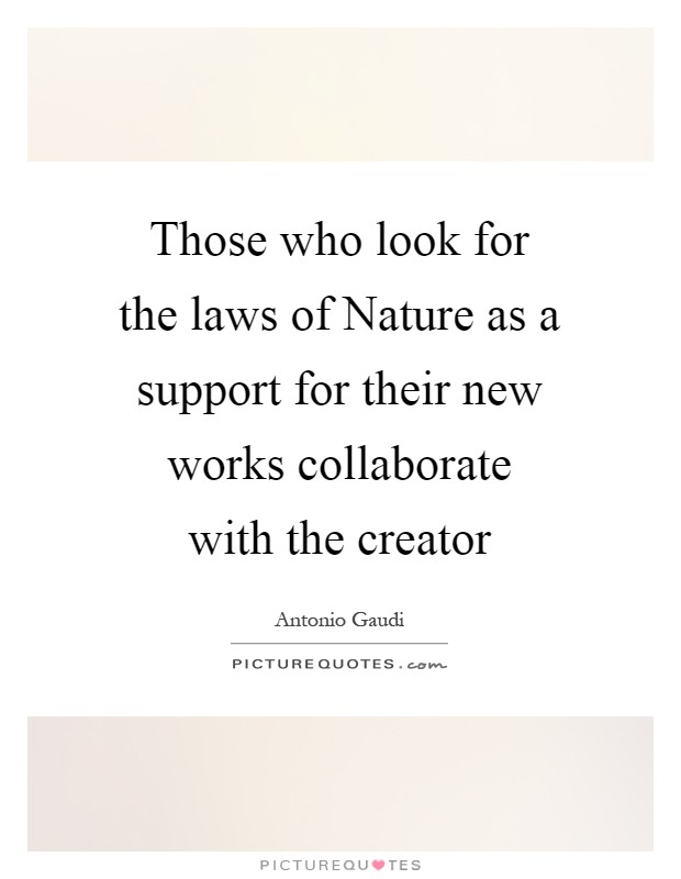Those who look for the laws of Nature as a support for their new works collaborate with the creator Picture Quote #1